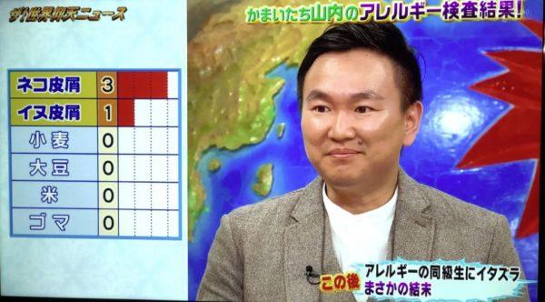 山内健司さん(かまいたち)のアレルギー検査結果